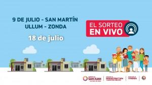 Sorteo Provincial de Vivienda: jueves 18 sortean Ullum, Zonda, San Martín y 9 de Julio