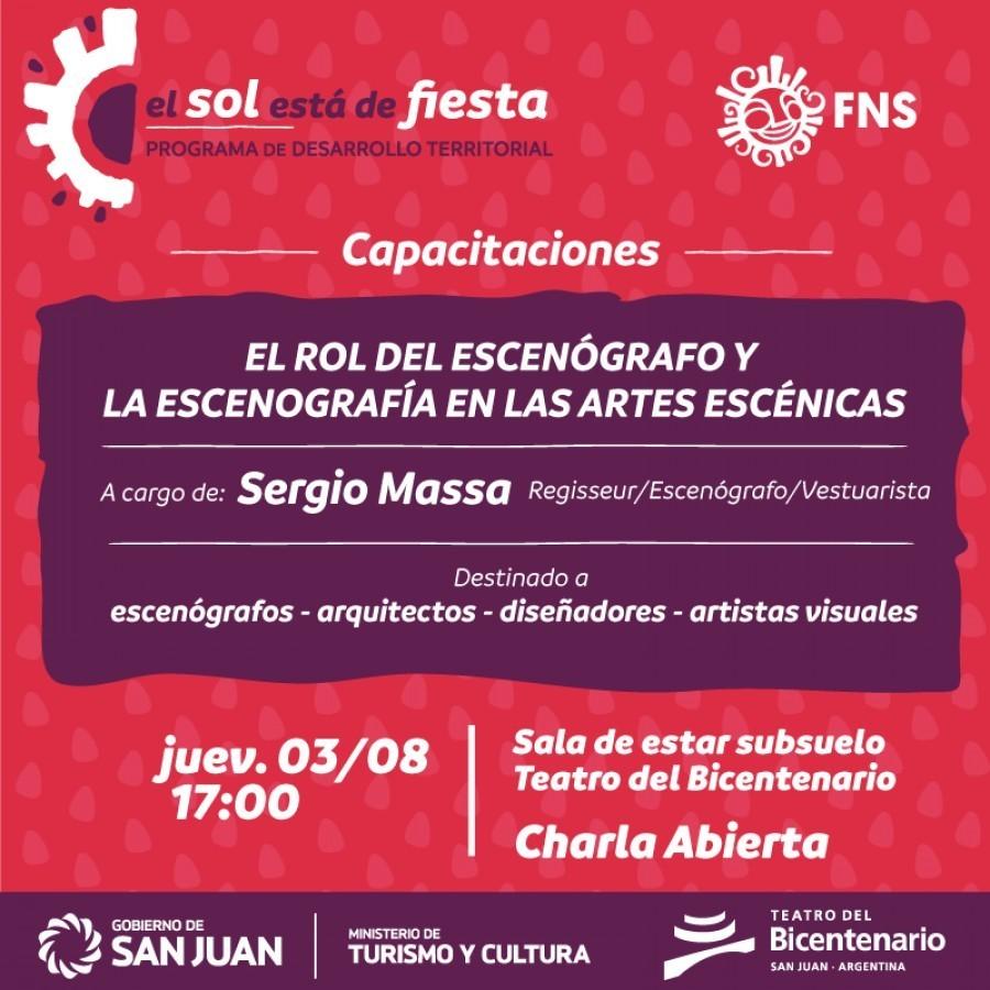 El destacado escenógrafo Sergio Massa brindará una charla abierta para artistas en San Juan