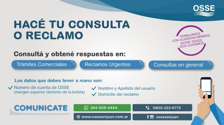 OSSE responde consultas de los usuarios a través de sus vías de contacto
