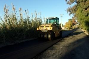 Calle 5: avanzan los trabajos de pavimentación