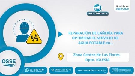 OSSE realizará trabajos en la red de agua potable en la localidad de Las Flores