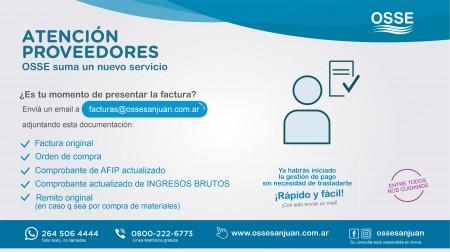OSSE ofrece a sus proveedores presentación digital de sus facturas