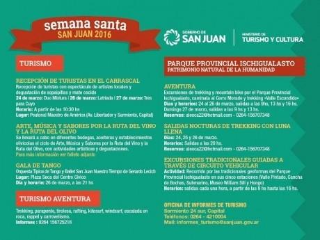 Actividades de Turismo y Cultura por Semana Santa