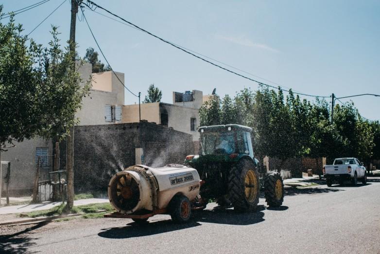 Desinfectaron Trinidad, Concepción y algunas zonas de Chimbas